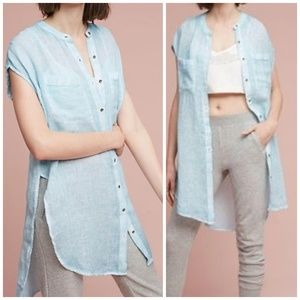 Anthropologie Holding Horses Blue Linen Tunic
